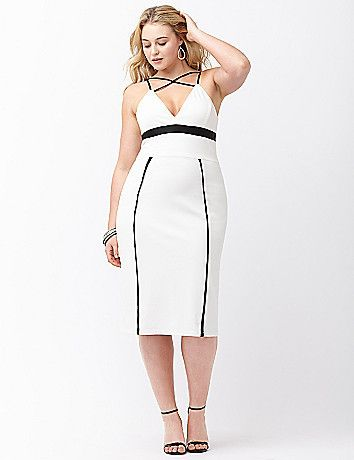 e91561980fa Plus Size Colorblock fitted ponte dress