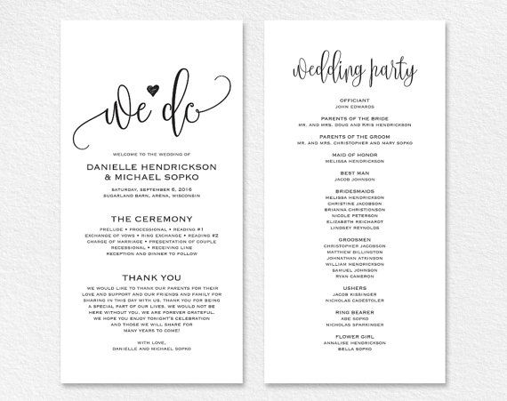 Wedding Program Template Wedding Program Printable We Do Etsy In 2020 Wedding Programs Template Wedding Programs Wedding Program Sign