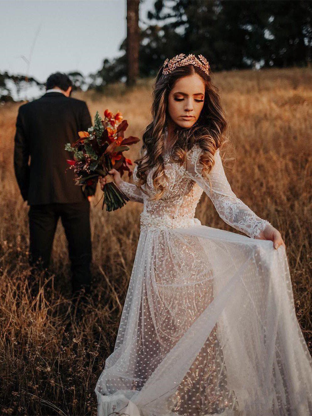 Long Sleeve Wedding Dresses V Neck Long Train Polka Dot Lace Open Back Boho Bridal Gown Jkw371 Boho Wedding Dress Lace Bohemian Boho Wedding Dress Lace Bohemian Wedding Dress Lace [ 1350 x 1012 Pixel ]
