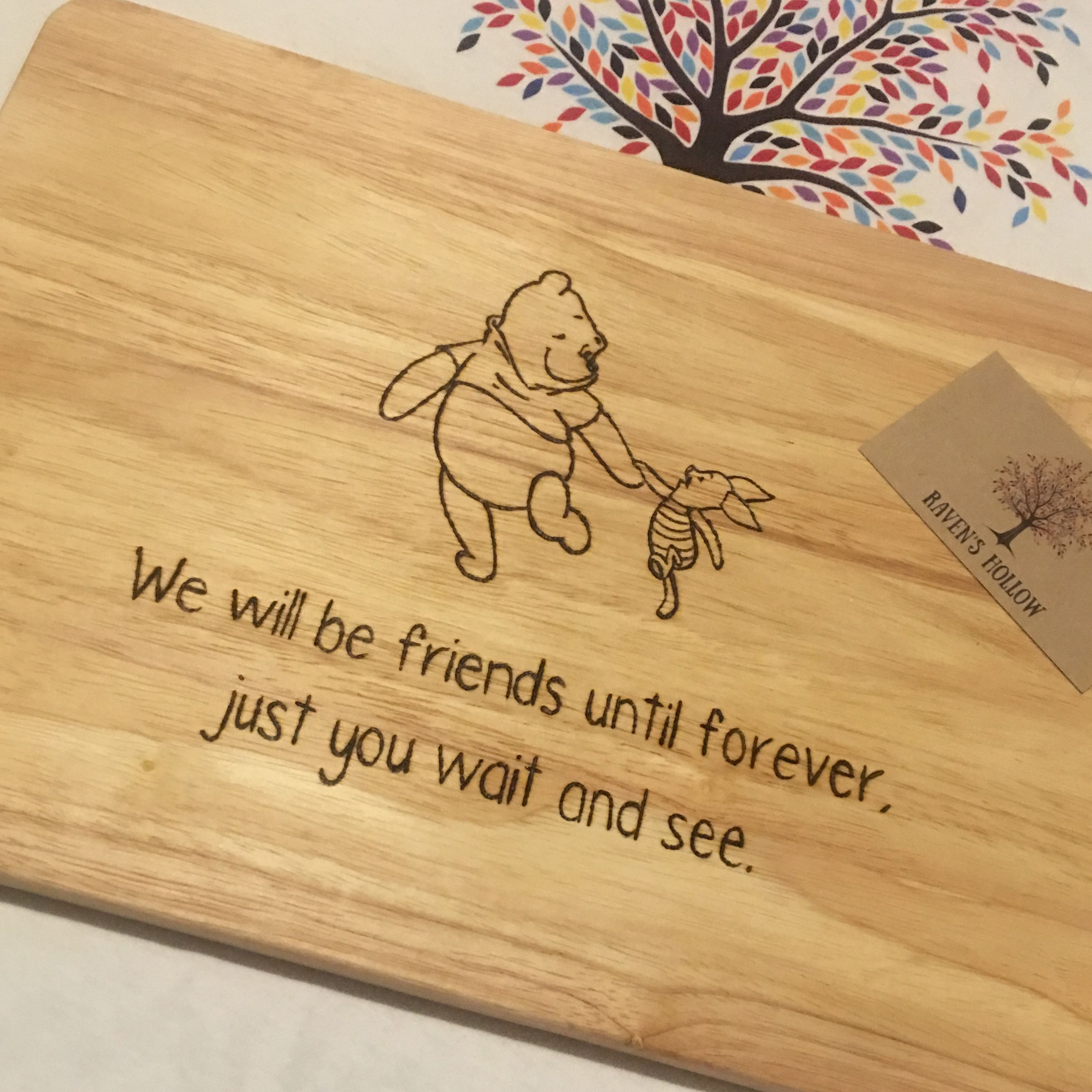 Winnie The Pooh Disney Inspired Chopping Board Pyrography Friendship Quotes Wood Burning Stencils Wood Burning Crafts Christmas Art Projects
