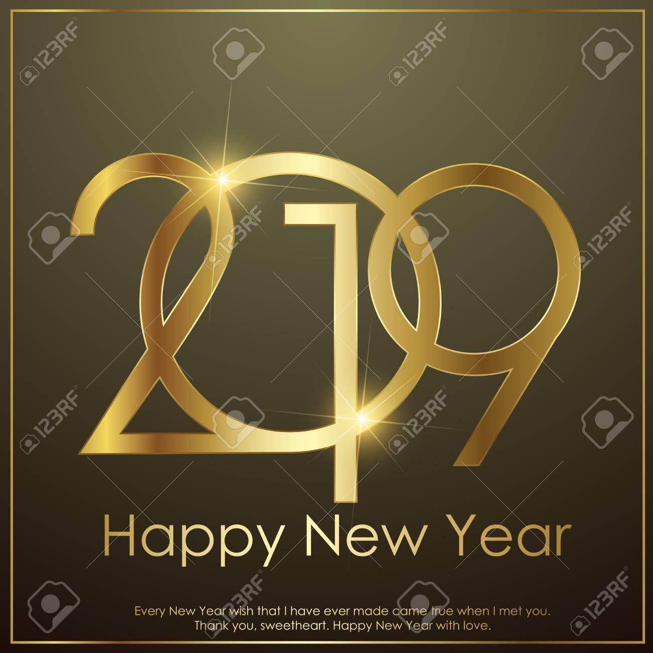 Happy New Year or Christmas greeting card with gold text