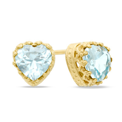 Zales Pear-Shaped Lab-Created Aquamarine Crown Earrings in Sterling Silver KFSLur8qVk