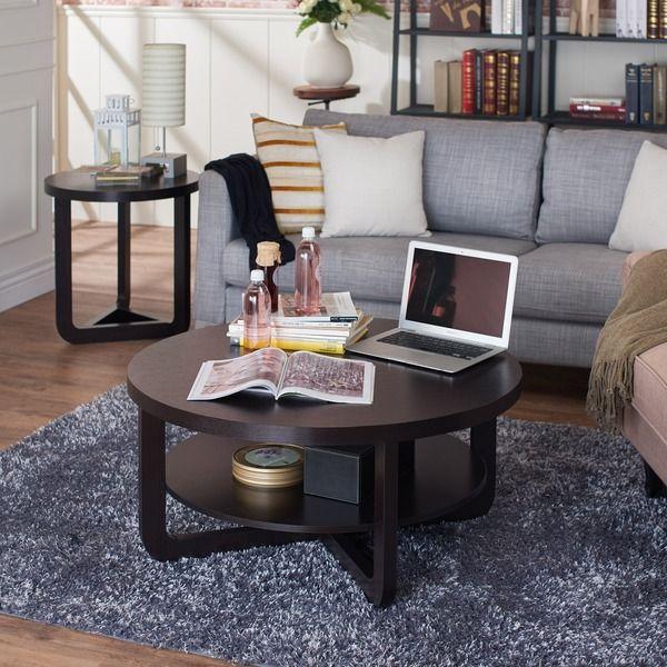 Furniture Of America Daxon Modern Cappuccino Round Coffee Table | Overstock. Comu2026