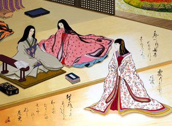 """Artist Agameishi.  The Tale of Genji, chapter 5, """"Young Murasaki"""".  Agameishi took on the major challenge of illustrating every poem in the book."""