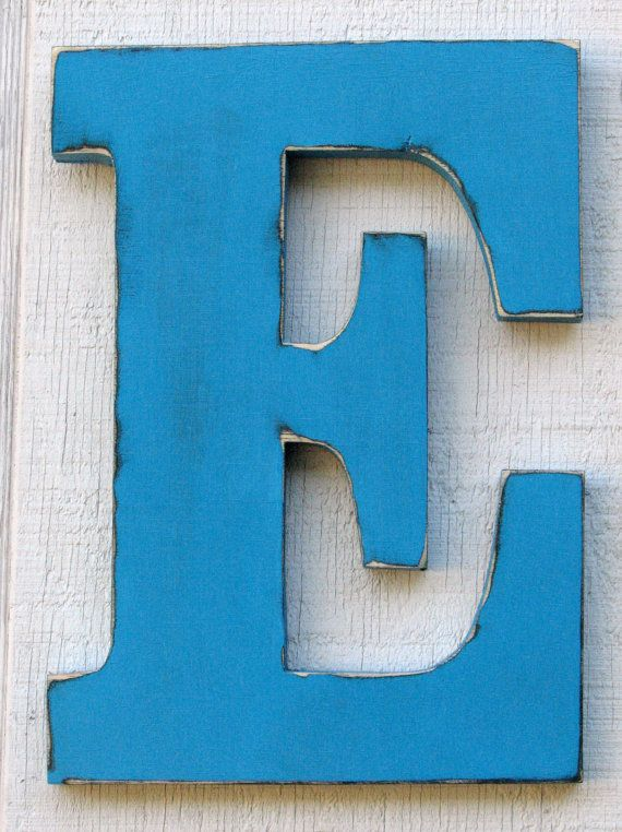 Large Wood Letters E Distressed In Island By Borlovanwoodworks 28 00 Love This For The Door To Emma S Room