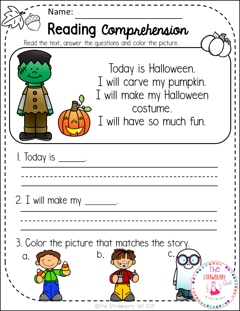 - Kindergarten Reading Comprehension Passages - Fall Reading