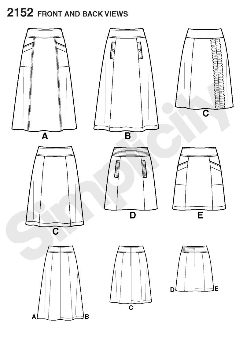 Yoked skirt with pocket options. | Pattern Library | Pinterest ...
