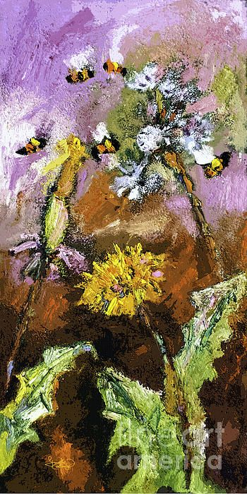 #Expressive #Dandelions and #Bees #Painting