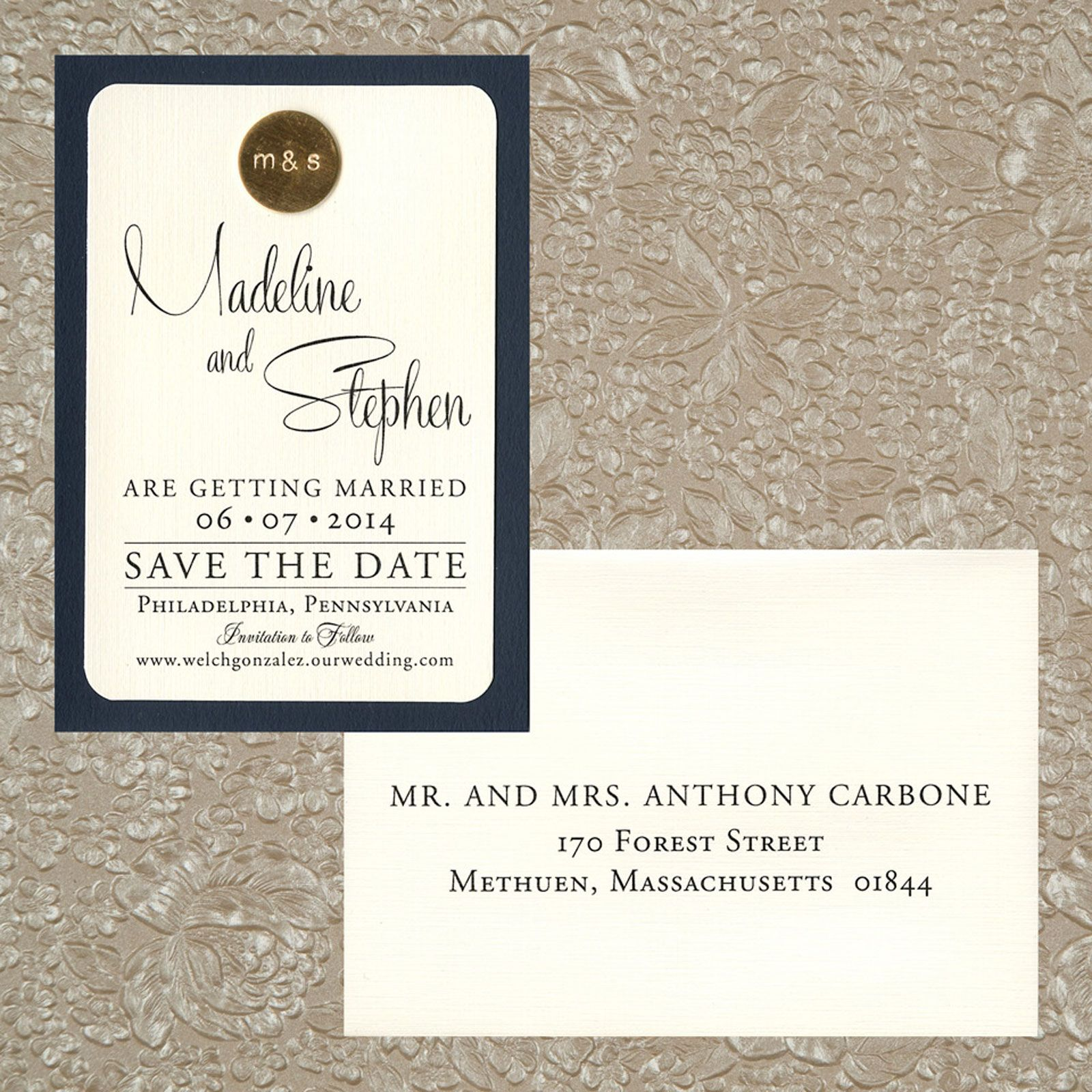 two layer save the date, navy blue matte paper, ivory ...