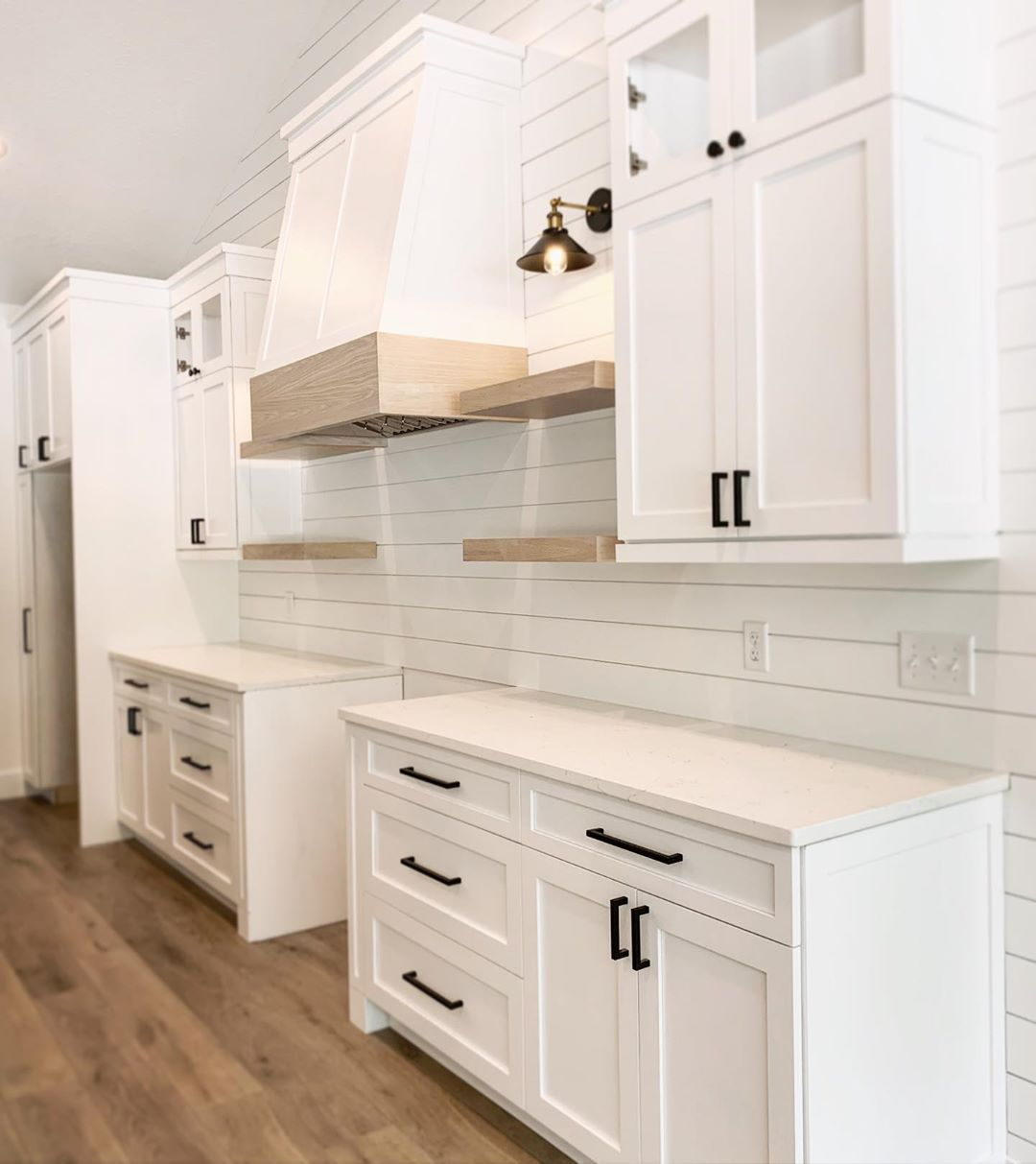 Isaiah Cully On Instagram Shiplap Floating Shelves White Cabinets Black Hardware Arm Lights All Modern Farmhouse Kitchens Home White Cabinets