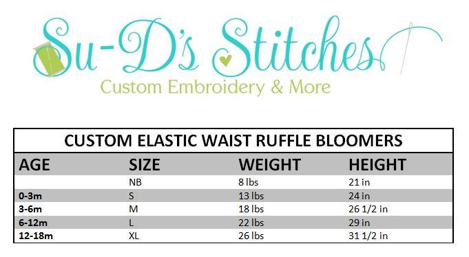 Custom elastic waist ruffle bloomers size chart also bottoms rh pinterest