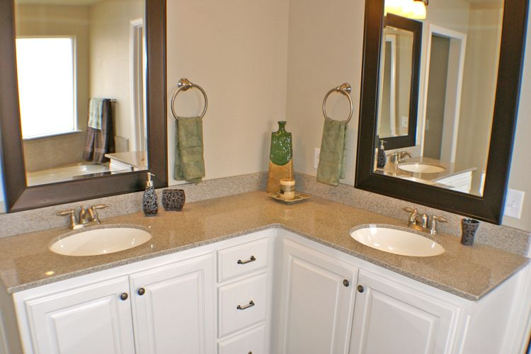 L Shaped Bathroom Vanity   Double Sinks.