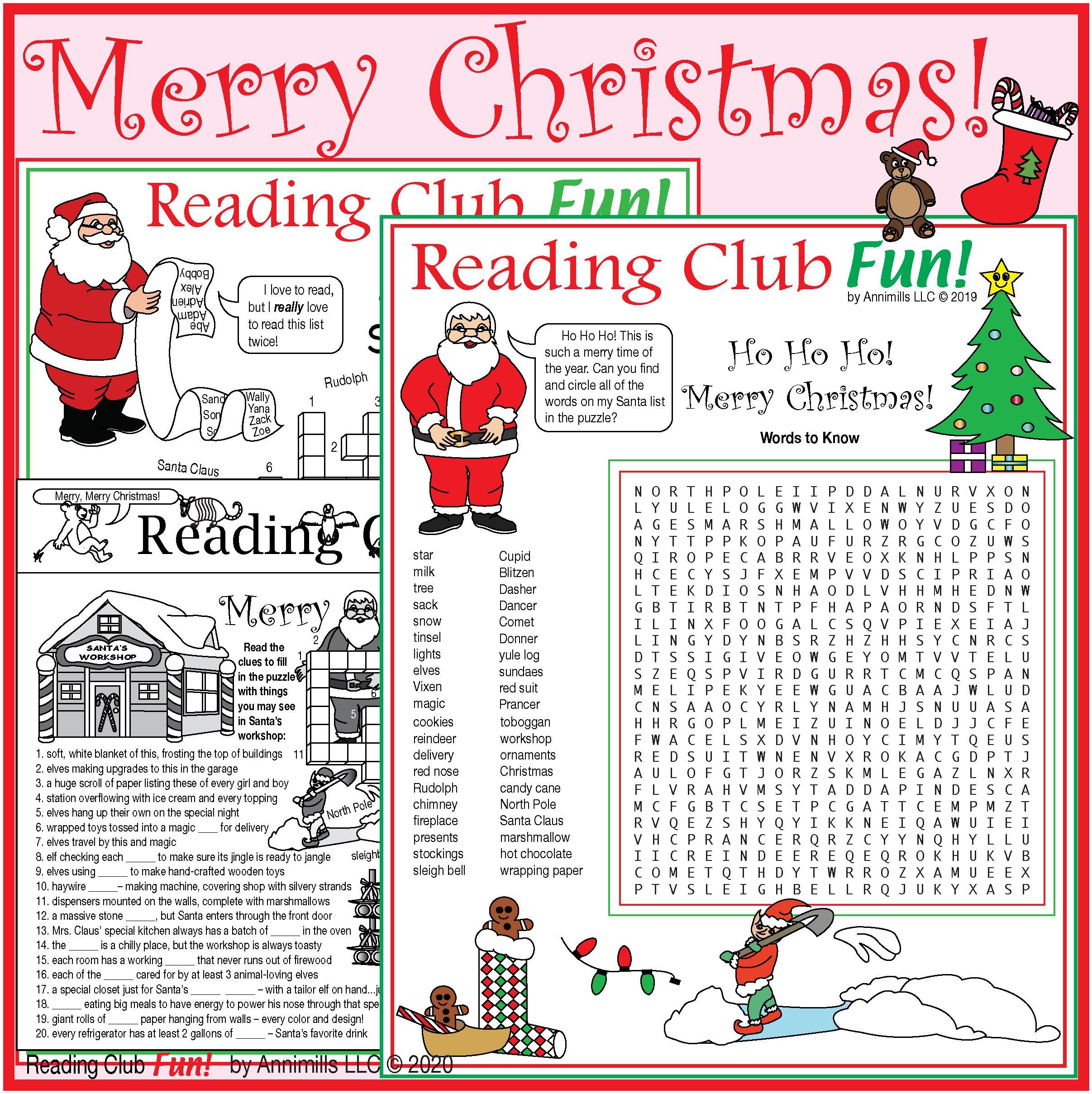Merry Christmas Puzzle Set Santa North Pole Workshop