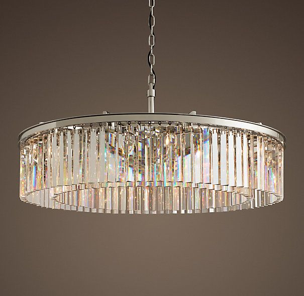 Rhys Clear Glass Prism Round Chandelier 43 Polished Nickel Round Chandelier Round Crystal Chandelier Crystal Chandelier