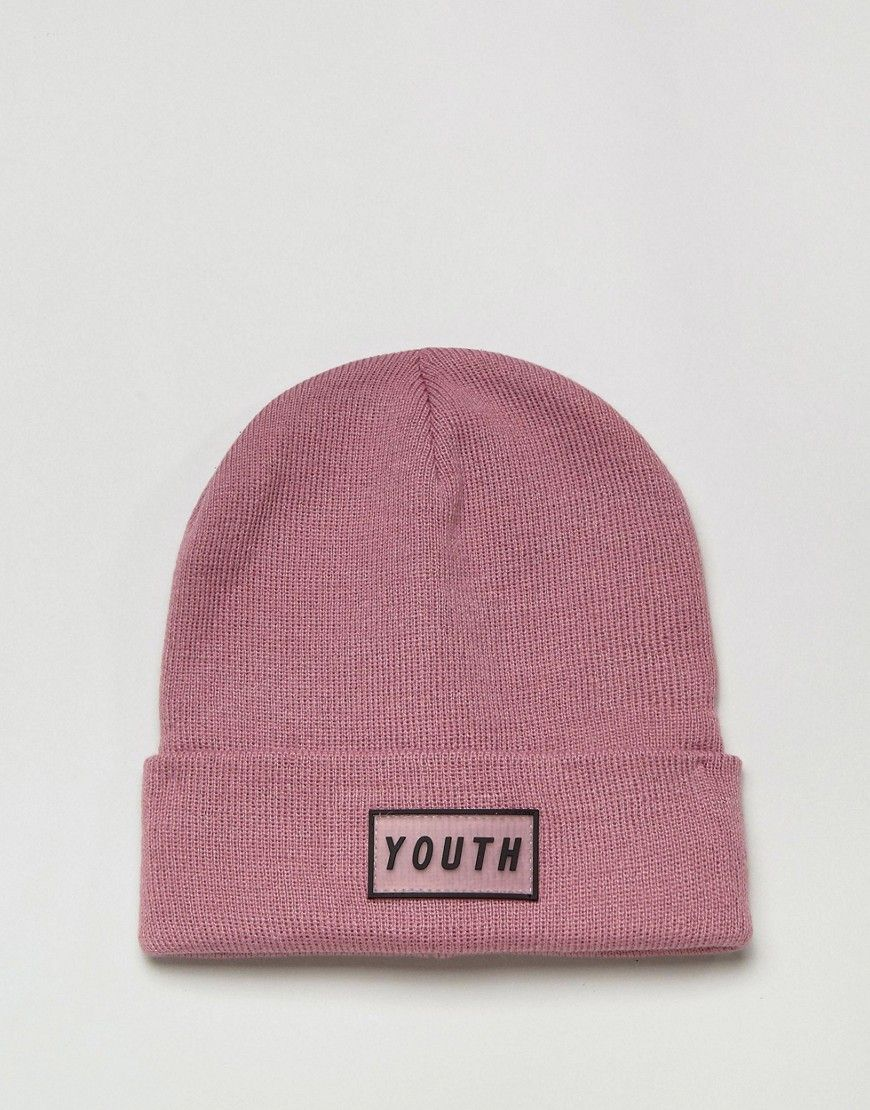 5003a302725 ASOS Patch Beanie In Pink With Youth Logo Badge - Pink
