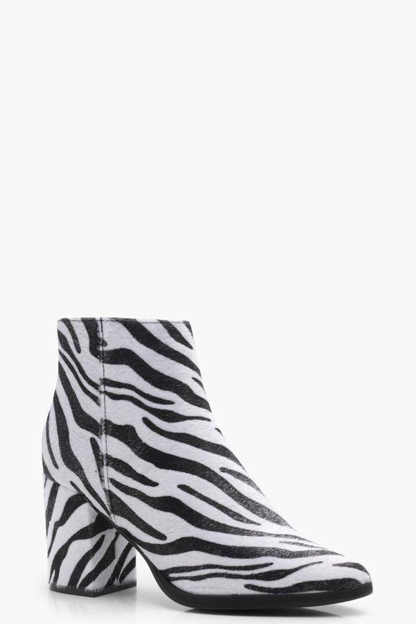 23a3ec46f332 boohoo Ava Zebra Print Painted Toe Boot