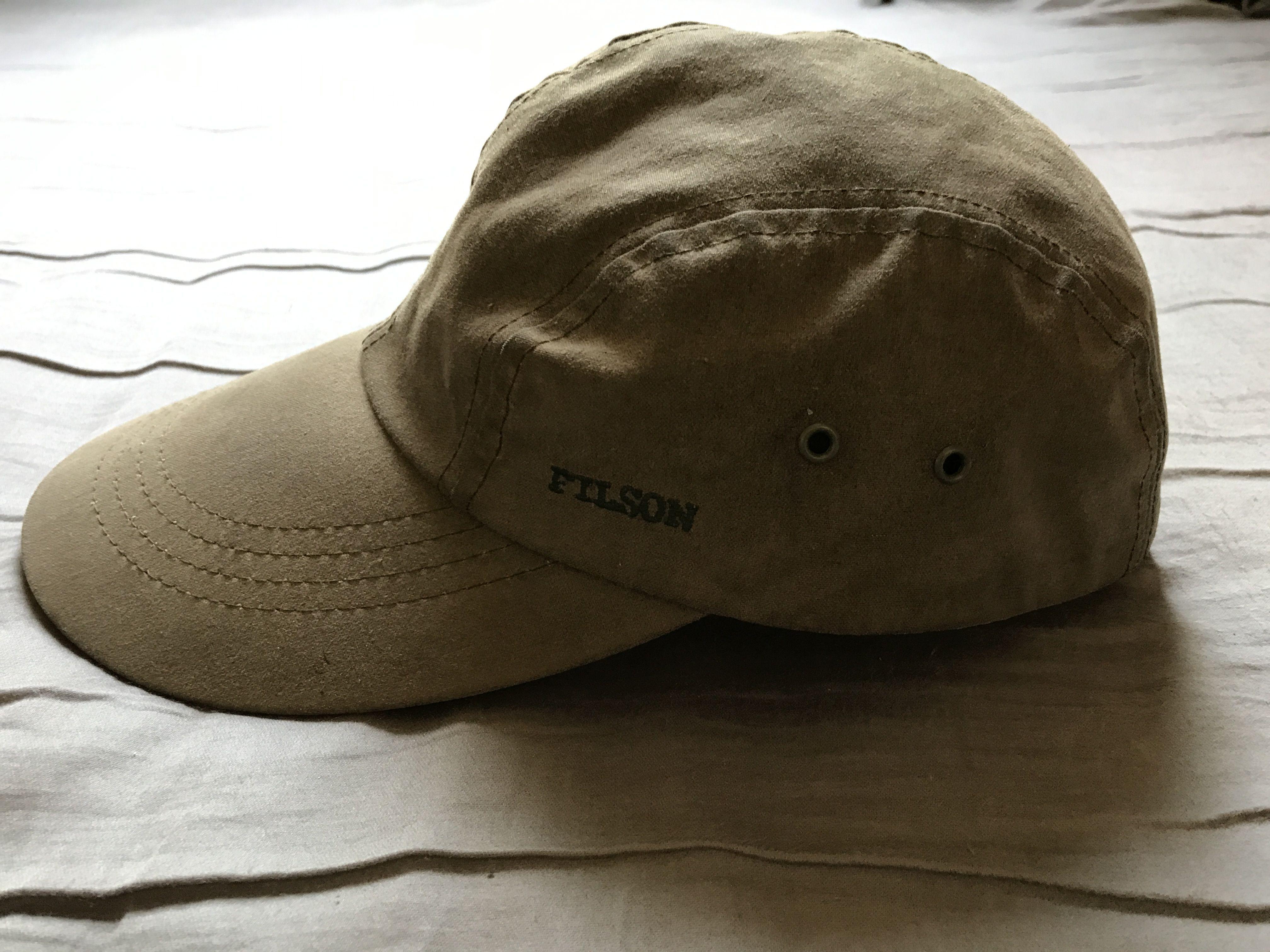 8e8d3019bfb192 Men's vintage Filson tin cloth olive green long bill hat size M ...