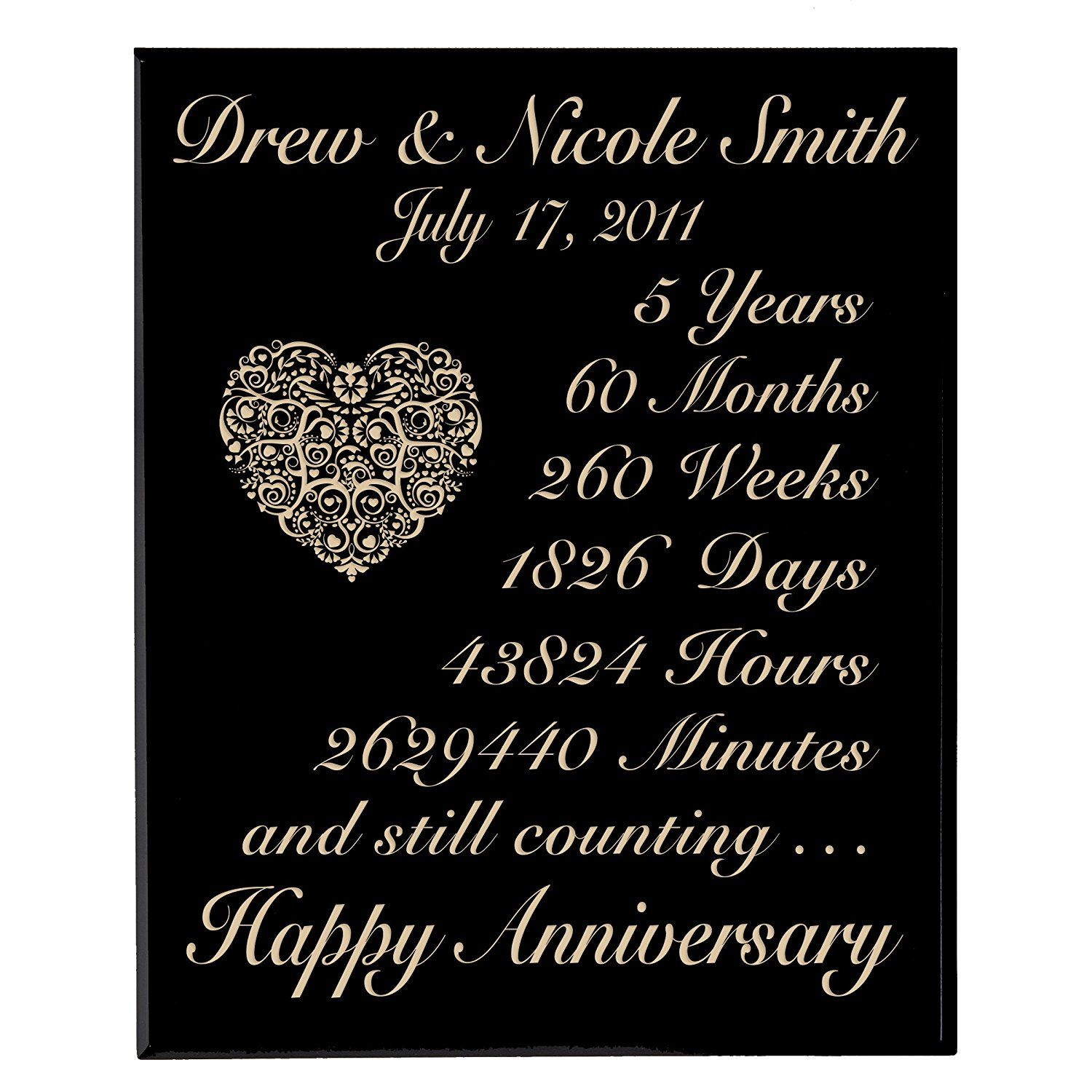 Personalized 5th Wedding Anniversary Wall Plaque Gifts for