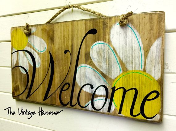 welcome sign wood sign sayings daisies hand by