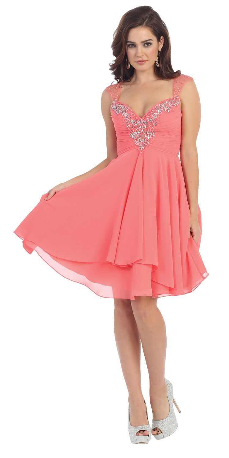 Prom short sweetheart cap sleeve sequins chiffon cocktail dress with