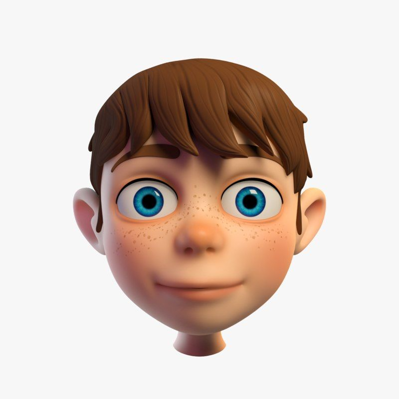 3d Model Cartoon Boys Head Cartoon Boy Cartoon Head Cartoon