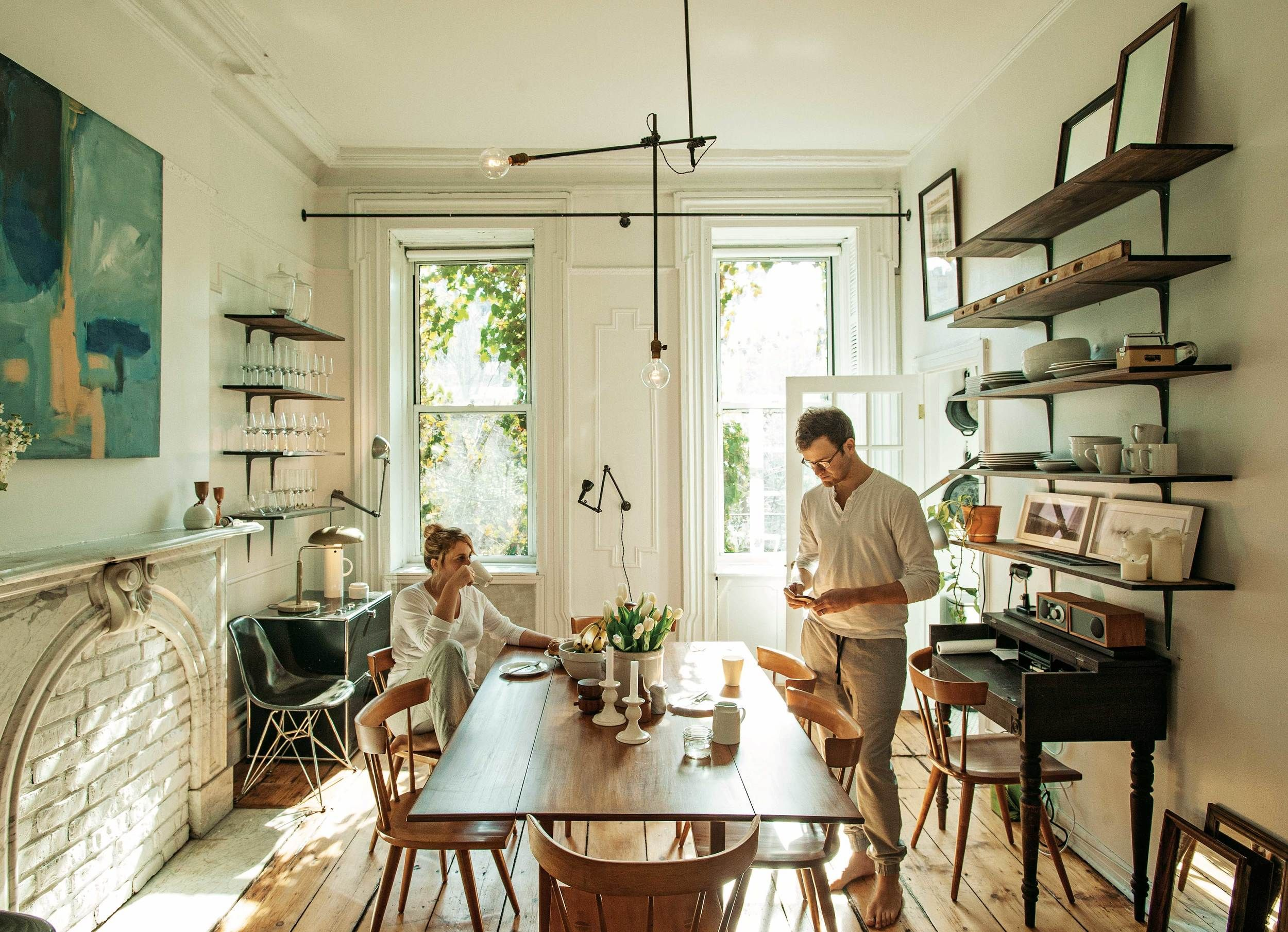 A quintessential Brooklyn dining room in the Cobble Hill home of Robert  Highsmith and Stefanie Brechbuehler. A quintessential Brooklyn dining room in the Cobble Hill home of