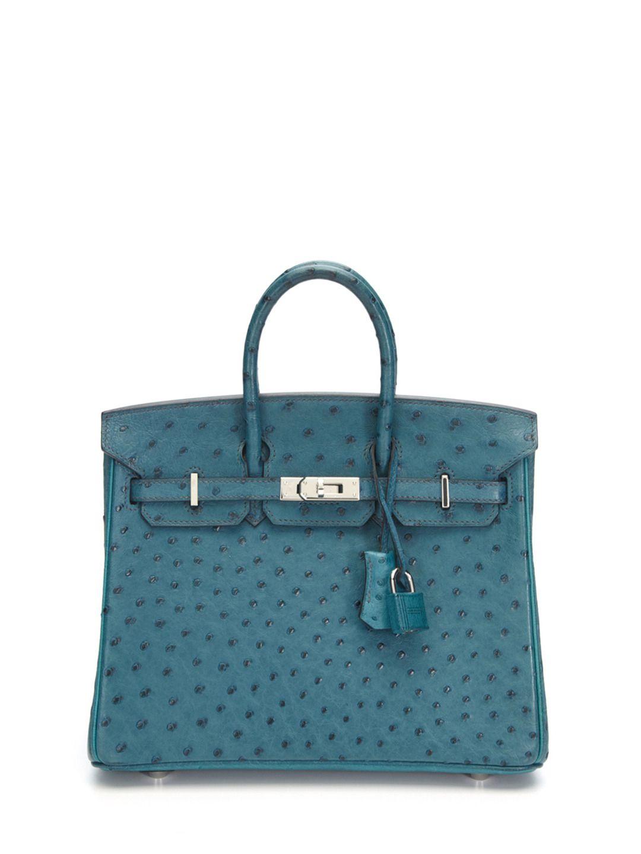 f45f050856d Bi-Color Sapphire Blue and Blue Jean Ostrich Birkin 25cm by Hermès at Gilt