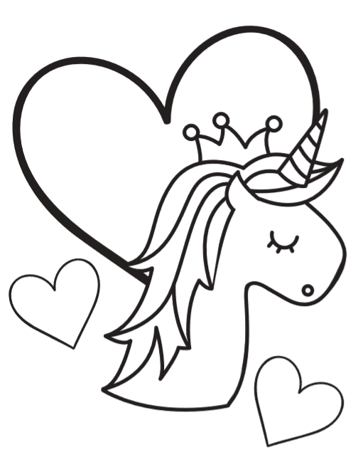 Free Unicorn Coloring Book Pages So Cute Unicorn Coloring Pages Heart Coloring Pages Valentine Coloring Pages