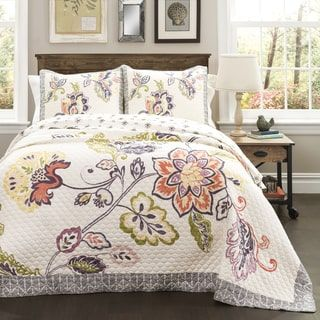 Shop for Lush Decor Cotton Aster 3-Piece Quilt Set. Get free ... : overstock quilts king - Adamdwight.com
