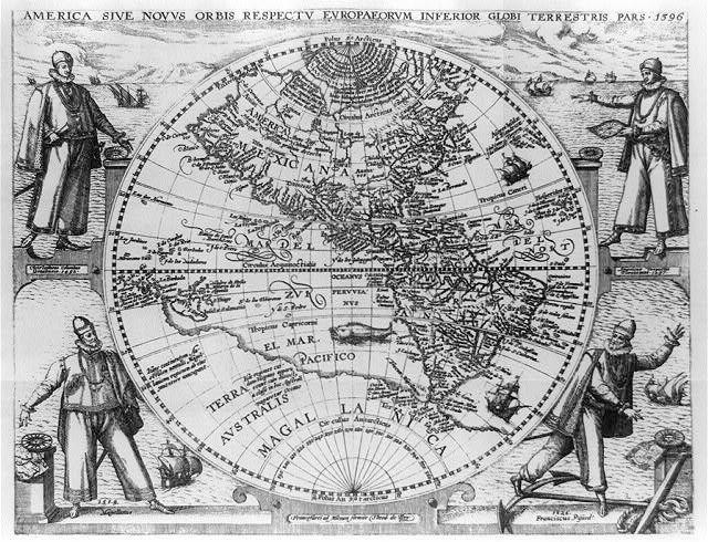 Amerigo Vespucci Map Of America.Map Of The Americas With Portraits Of Christopher Columbus Amerigo