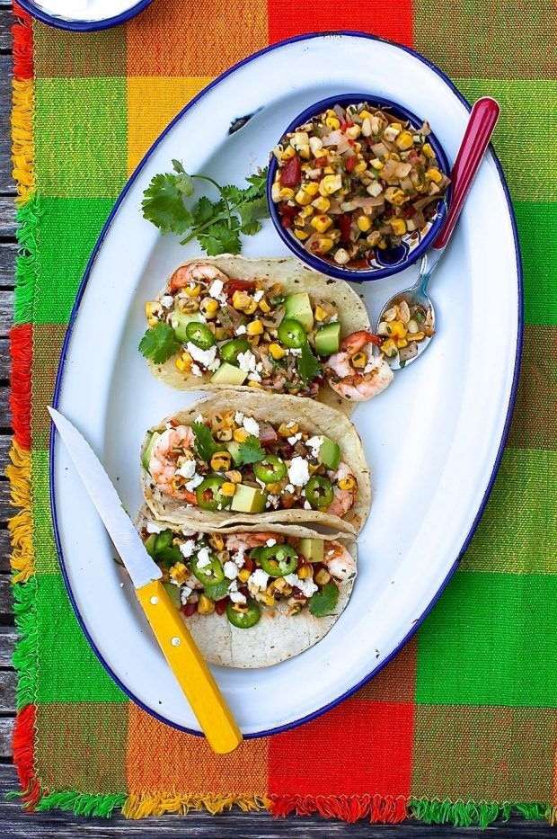 Grilled Shrimp Tacos With Charred Corn Salsa Recipe Corn Salsa Grilled Shrimp Tacos Food