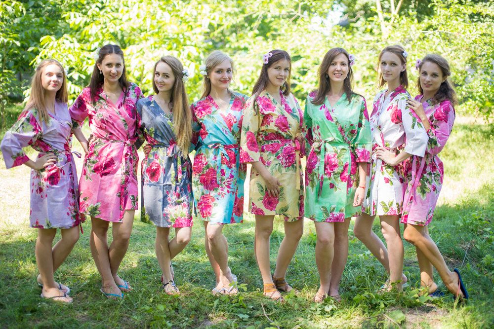 Mix Matched Soft Large Fuchsia Floral Blossom Bridesmaids Robes, Kimono Robes, Bridesmaids gift, getting ready robes, Bridal shower, Wedding