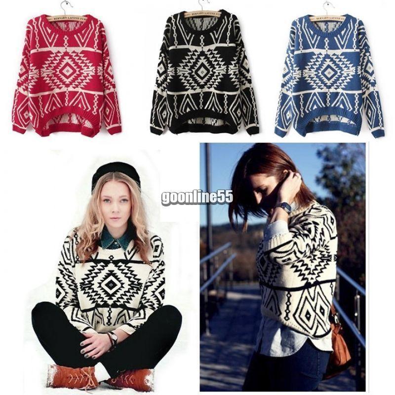 87e617b10d Fashion Women Knit Geometry Design Printed Long Sleeve Pullover Sweater Ea9