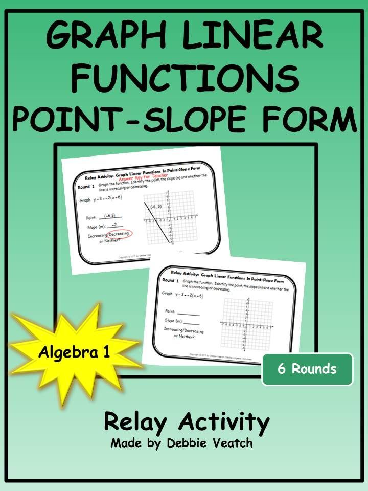 Graph linear functions in pointslope form relay activity