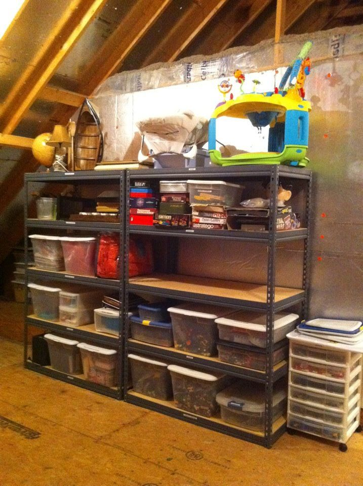 Put Racks From Home Depot Lowes In The Attic To Hold Storage Bins Everything Gets A Label Too Attic Storage Storage Labels Storage Bins