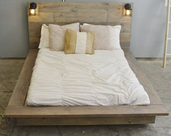 Floating wood platform bed frame with lighted headboard for Lit plateforme bois