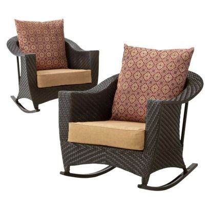 Beautiful Willoughby Wicker Patio Rocker Set   Brown I Like The Rocker Idea But Not  The Colors.