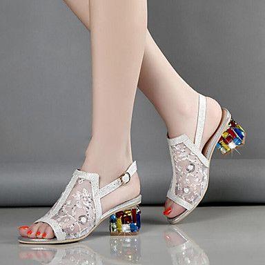 51e82f4bc Feminino-Sandálias-Conforto Inovador Sapatos clube-Salto Grosso--Tule  Microfibra-Casamento Social Festas & Noite