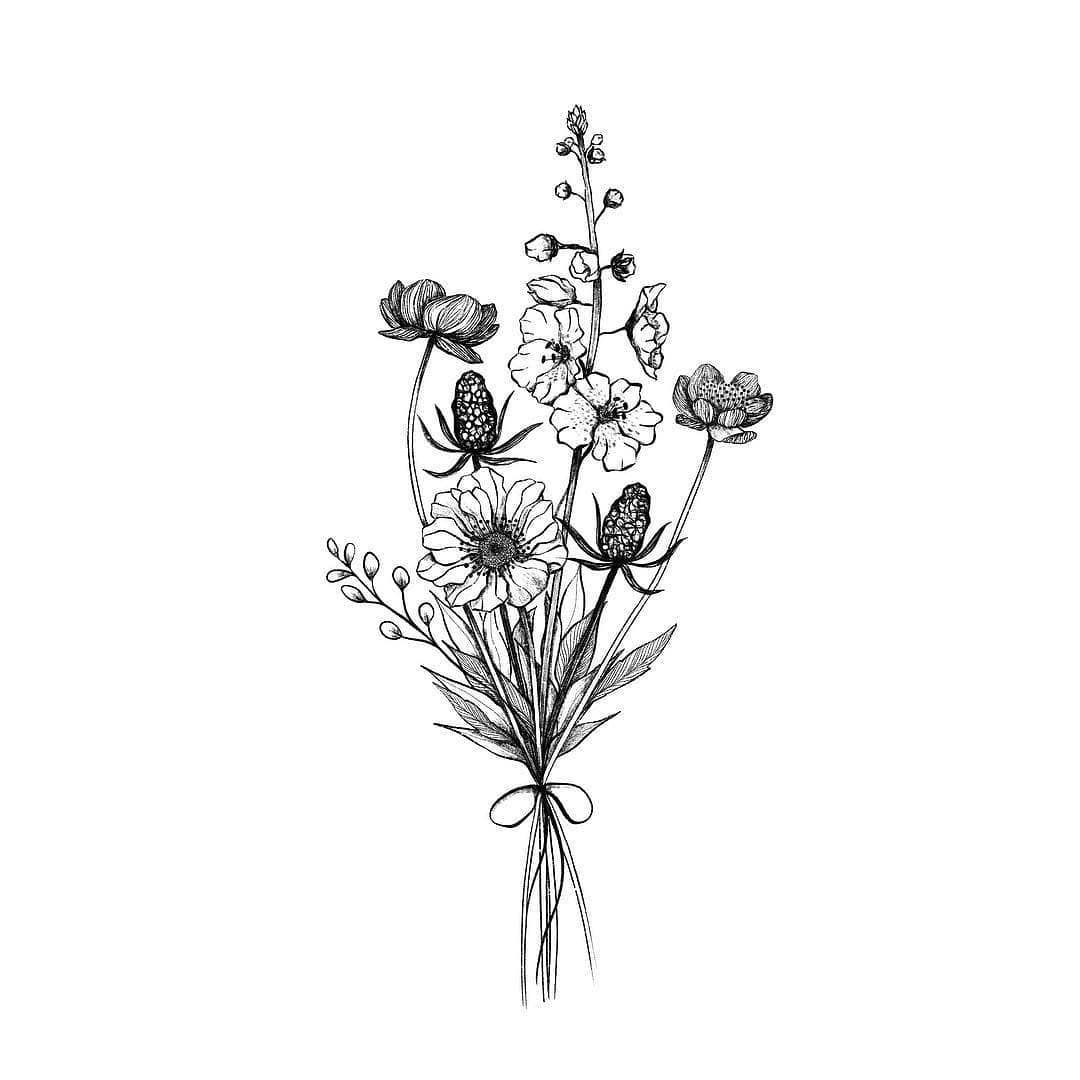 Illustrations en noir et blanc sur Instagram: « Illustration par  @alicelovesdrawing | #blackworknow in 2020 | Tattoos, Small flower tattoos,  Flower tattoos