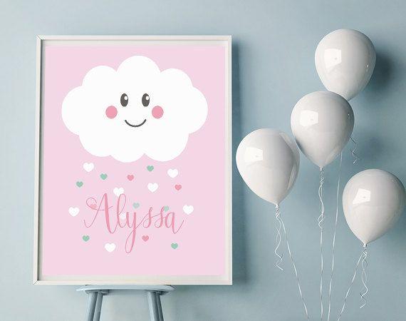 Poster Babykamer Pastel : Wolk naam poster naam poster met wolk door jennyillustrations