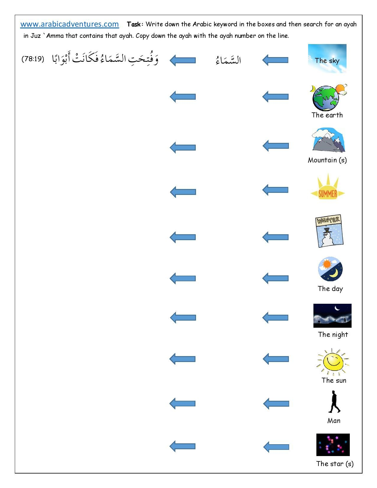 Quranic Arabic Keywords Worksheet