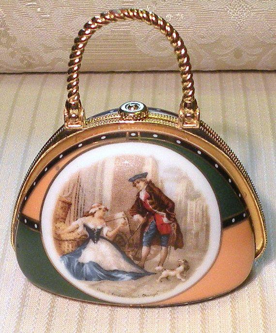 Vintage Porcelain Purse Pill Box Vanity by RosePetalResources, $20.00