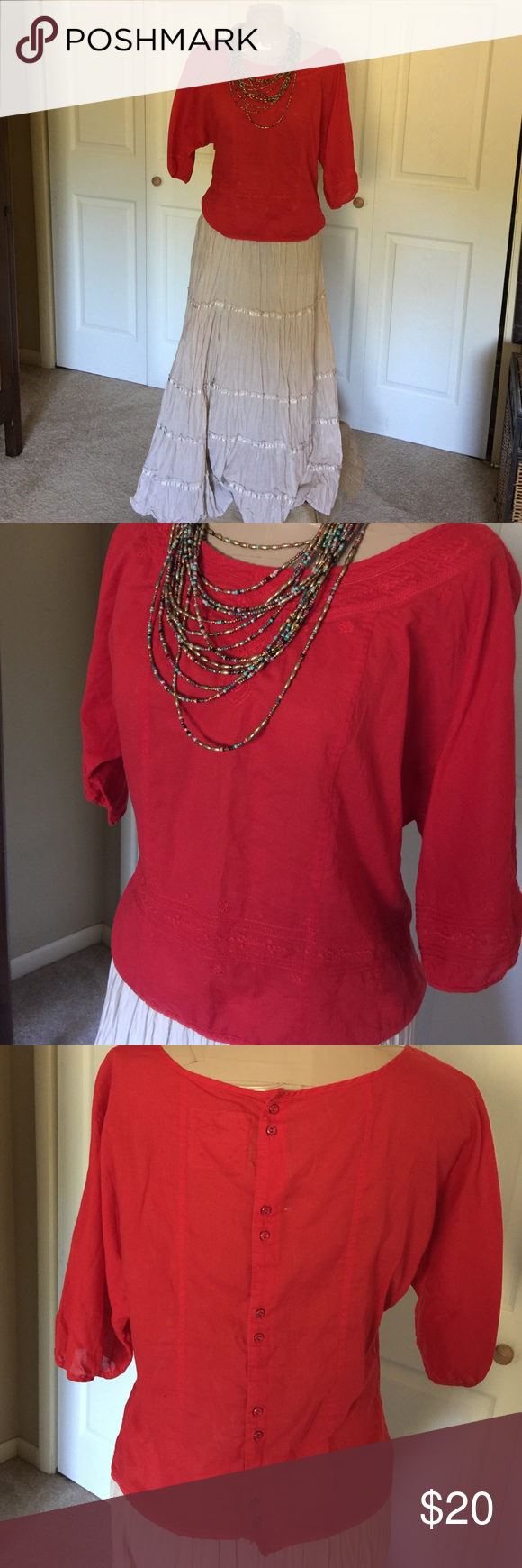 🎈FREE PEOPLE RED TOP🎈 Red Free People top, buttons in back, embroidery design around neck, front of blouse, bottom front and sleeves. This would be cute for the Christmas season, no flaws, tears or stains. Free People Tops