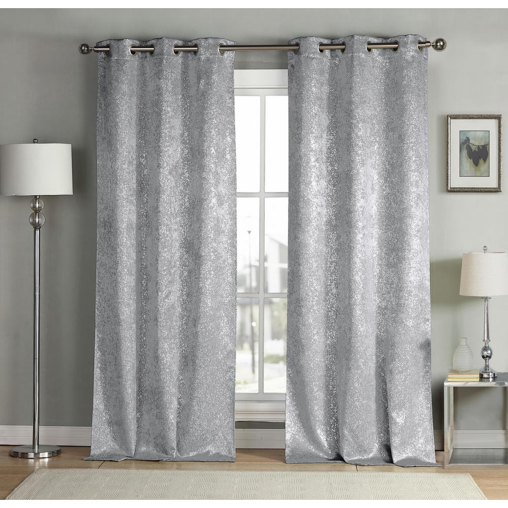 Duck River Maddie 38 In X 84 In L Polyester Blackout Curtain Panel In Silver 2 Pack Maddie 13455d 12 The Home Depot Blackout Curtains Grommet Curtains Panel Curtains