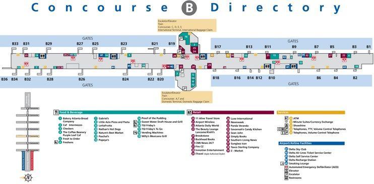 atlanta airport terminal b map