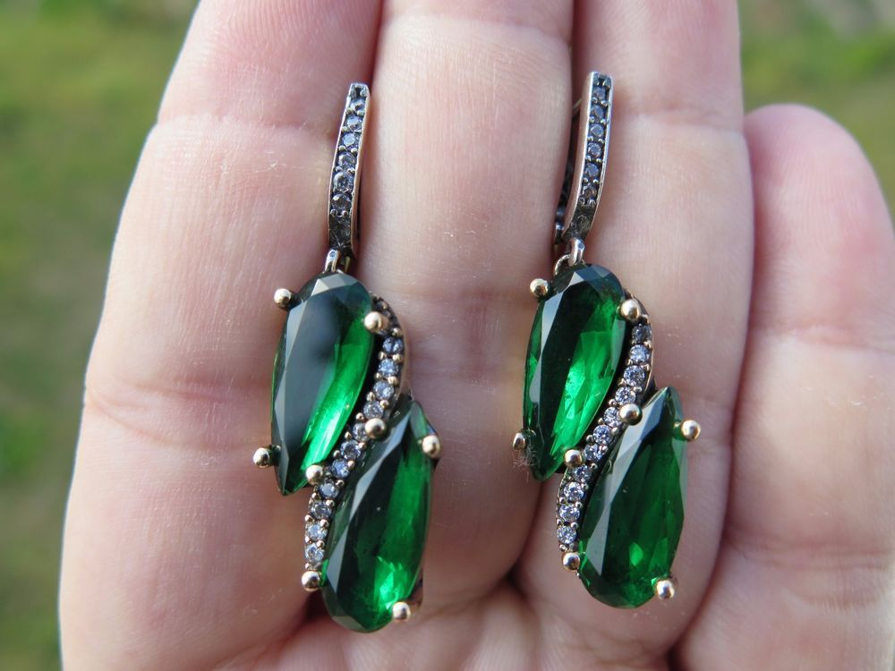 NATURAL! TURKISH AUTHENTIC STERLING SILVER EARRINGS EMERALD 925K ZIRCON  #Handmade #DropDangle