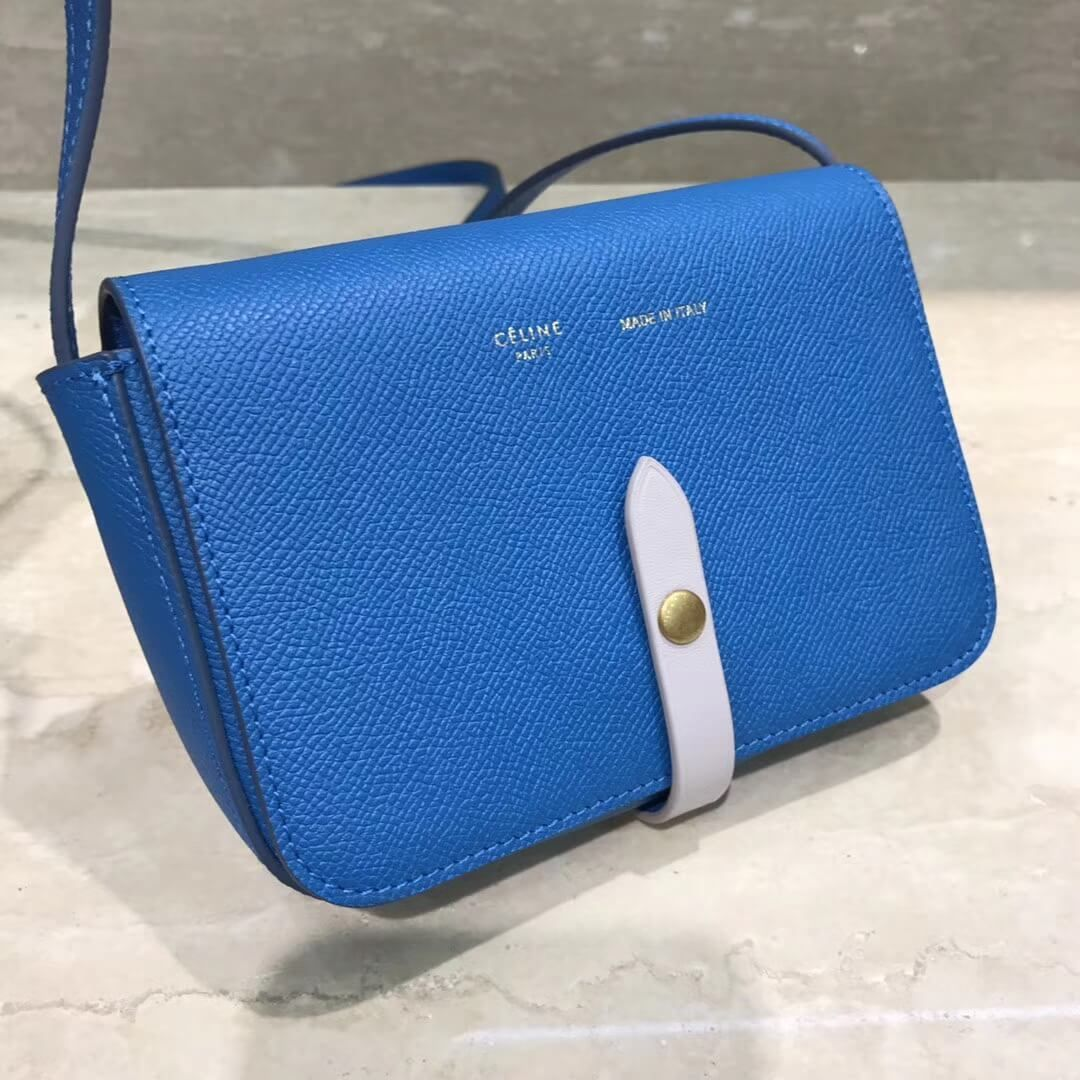 49aba0bb7e Celine Multifunction Mini Shoulder Bag in Grained Calfskin Blue 2017 ...