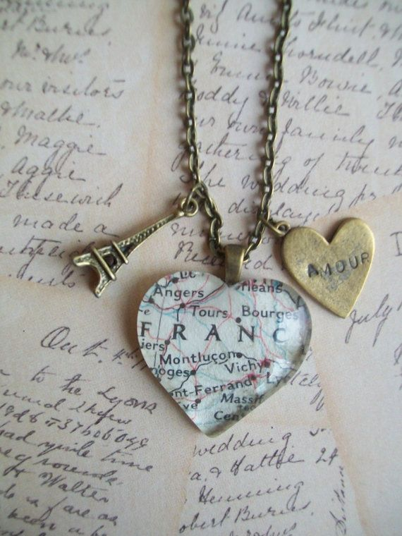 1950's map necklace Paris France Eiffel tower by NoTwoTheSame, $14.00
