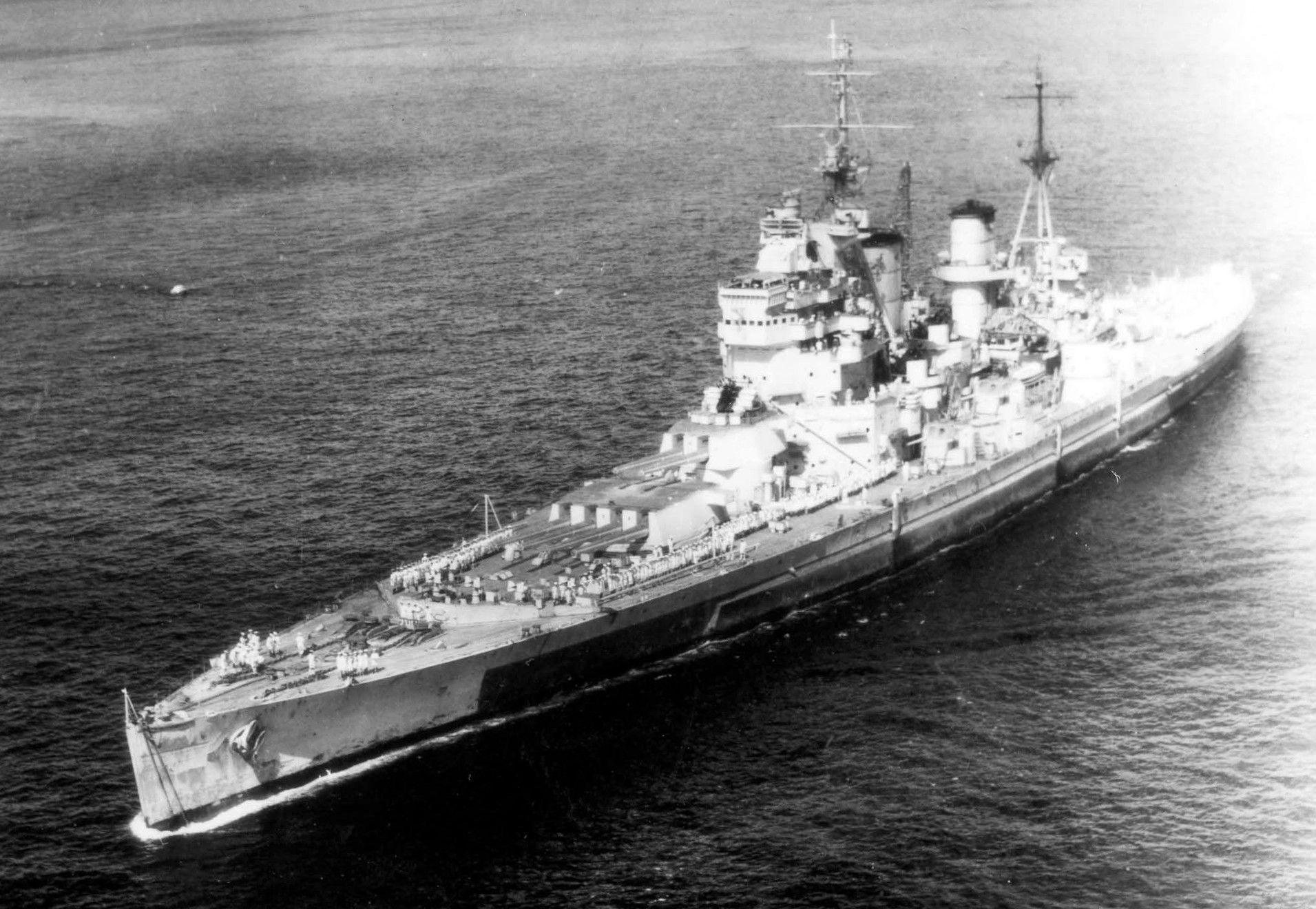 HMS King George V entering Apra Harbor, Guam, Mariana Islands, 1945. [1911X1320]