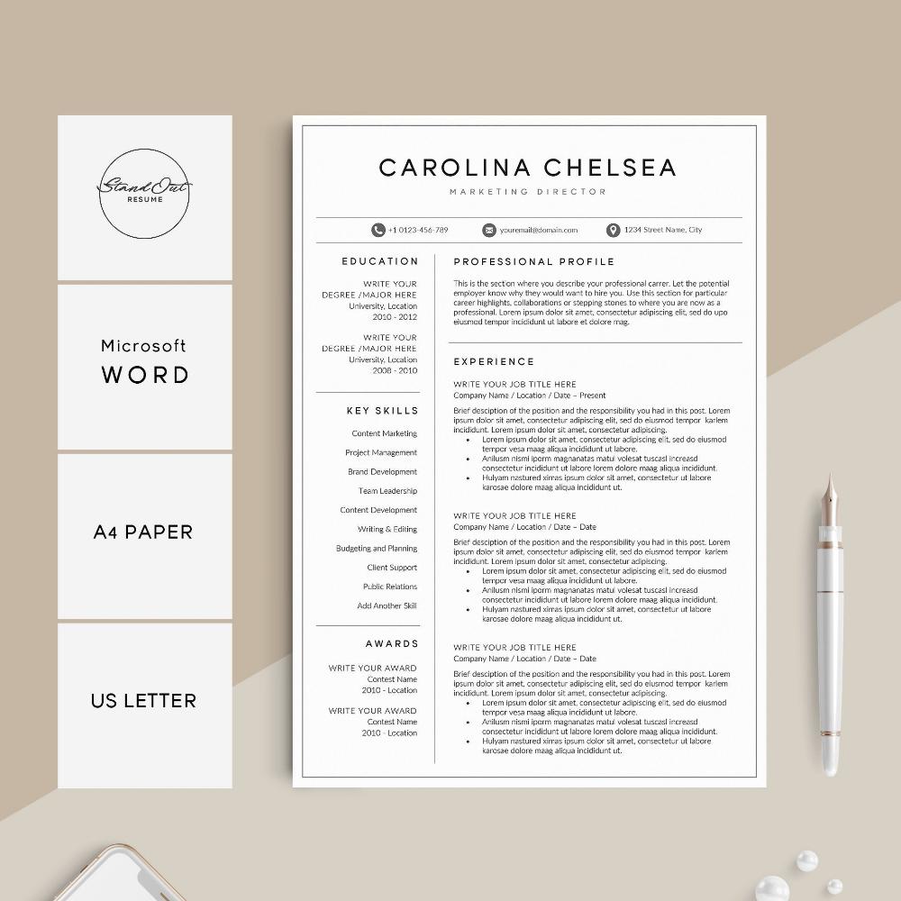 Professional Resume Template Modern Resume for Word CV